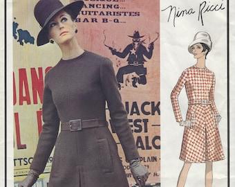 UNCUT / Nina Ricci Designer / Vogue Paris Original Pattern 1880 - with Vogue Label /  Above-waistline Fitted A-line Dress, Size 12, bust 34