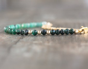Emerald Bracelet, Ombre Gemstone Bracelet, Gift for Wife, Boho Bracelet, Gift for Her, Emerald Jewelry, Dainty Bracelet, May Birthstone