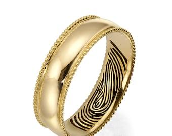 Fingerprint Wedding Band, 18K Yellow Gold Fingerprint Ring, Fingerprint Ring , Wedding Band, Personalized Band, Personalized Ring
