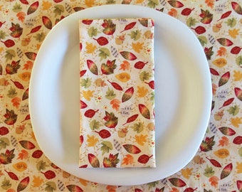 Thanksgiving Napkins (4) with Falling Leaves in Red, Green, Orange, Yellow and Cream, Autumn Dinner Napkins, Fall Table, Autumn Road