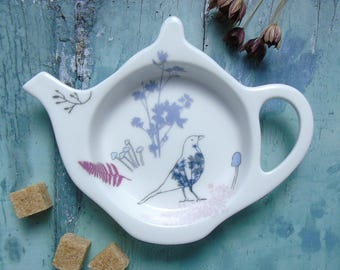 Bird Teabag Holder - Teabag Tidy - China Teabag Dish - Gift For Tea Lovers - Tea Stocking Filler - Teapot Shaped Teabag Rest - Spoon Rest