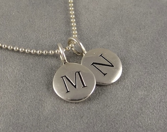 Custom Two Initial Necklace - Silver Personalized Necklace - Mom Necklace - Couples Necklace