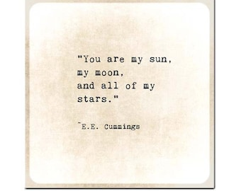 You Are the Sun Moon Stars Quote Print, EE Cummings Poem Quote Art Print, Poetry Art Nursery Decor, Book Page Art, Literary Print Love Quote