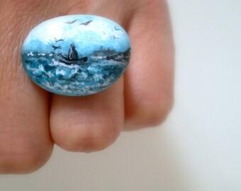 SALE- Hand Paint Marine Seascape Ring, Miniature painting  - Adjustable, beach pottery art