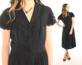 1930s 1940s Black Dress Scalloped Lace LBD Short Sleeves Flared Midi Skirt Vintage 30s 40s Medium M Pinup Rockabilly Art Deco