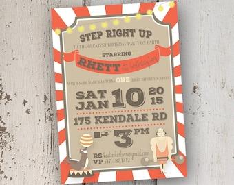 Circus Themed Birthday Invitation 5x7: Printable and Customizable