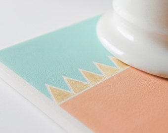 Mint, Peach, Gold Coasters Geometric Hand Painted Ceramic (Triangles, Wedding, Anniversary, Birthday, Bridal Party, Hostess Gift)
