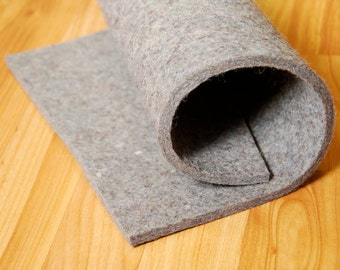 "Medium Density Industrial Wool Felt by the Foot - Natural Gray, SAE F7 Grade, 72"" Wide, 1/8"" to 1"" Thicknesses Available"