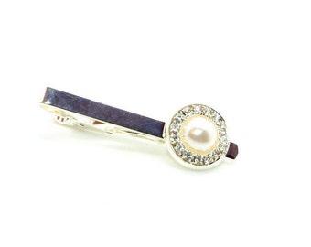 White Pearl Rhinestone Tie Clip – White Pearl Tie Clip – White Pearl Tie Bar