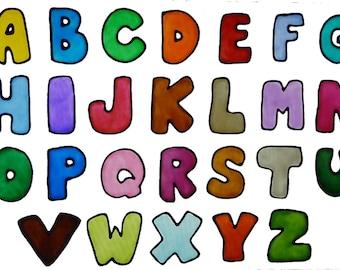 Alphabet window clings in jewel colors