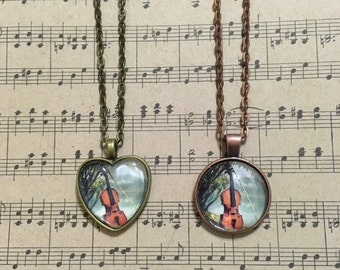 Music themed handmade glass pendant and necklace chain