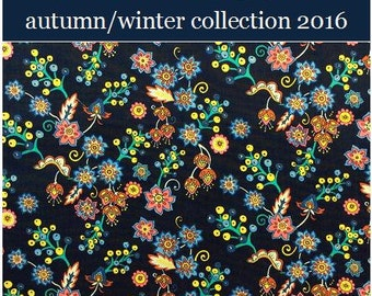 """2016: Buds and Berries B Liberty Fabric Tana Lawn 10"""" x 10"""" square (25,4 cm x 25,4 cm) dark blue pink yellow lilac The Weavers Mill"""