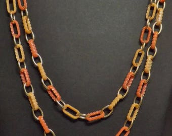 """Vintage 1960's Chain Link 27"""" Single Strand Necklace Dark and Light Orange Plastic Chain Beads and Gold Tone Metal Spacers"""