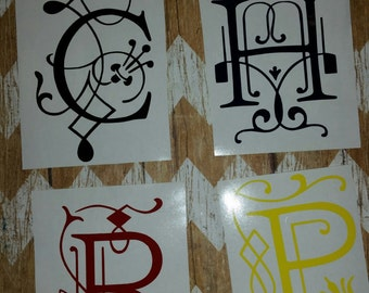 Individual Letter Monogram, made with outdoor vinyl. Personalized decal for your laptop, Ipad, car, water bottle etc.