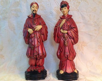 """Pair 16"""" ceramic figurines Asian man and woman couple art statue Chinese red Zen bohemian boho chic home decor"""