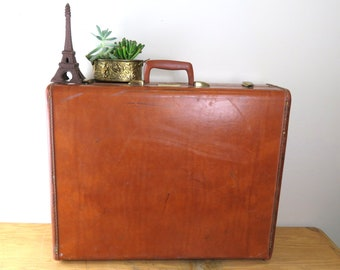 Vintage Samsonite Brown Hardside Travel Suitcase