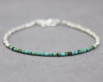Simple bracelet / Turquoise and Karen hill silver bead bracelet  / Silver bracelet / Karen silver bracelet / Friendship bracelet