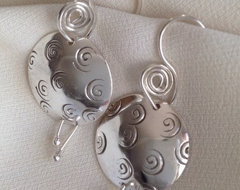 Swirl stamped sterling disk earrings