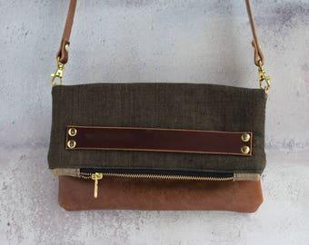 two toned leather crossbody, leather handbag, leather crossbody, clutch bag
