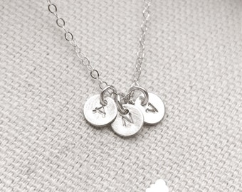 "SALE - Customized Sterling Silver Necklace - Hand Stamped 1/4"" Initial - Personalized Charm - Sterling Silver Chain - The Lovely Raindrop"