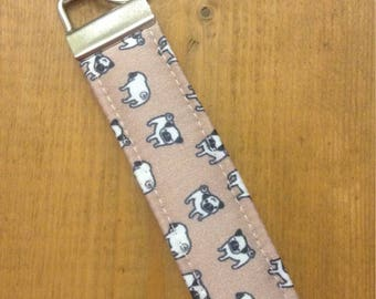 Pug Print Pima Cotton Fawn Brown Mini Pugs ~ Fabric Key Fob ~ Pug