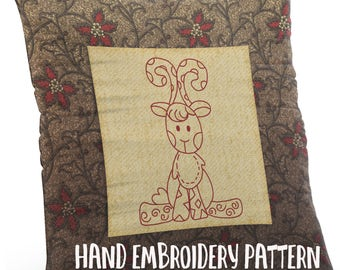 Hand Embroidery Pattern - Redwork Design - Baby Giraffe in 4 Sizes - PDF Instant Download - Good for Doodle Drawing