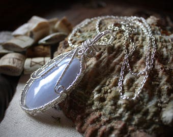 Blue Lace Agate Crystal Pendant Necklace/Spiritual/Chakra/Energy Healing
