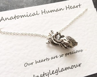 Anatomical Heart Necklace, Human Anatomy Necklace, Heart Necklace, Gifts For Doctor, Anatomical Anatomy,Mothers Day Gift