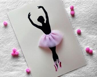 Ballerina A4 Hand Painted Wall Decor, Ballerina Wall Art, Girl Wall Decor, Dance Art, Sihouette Wall Art,Minimalist Art, Gift For Her