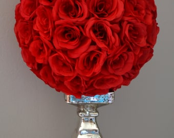 RED Flower Ball, Red Kissing Ball, Red Pomander, Red Wedding CENTERPIECE, Flower Girl. PREMIUM Soft Silk Roses.