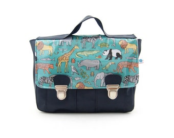 Satchel boy Blue Navy savanna animal patterned fabric and synthetic leather