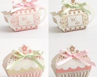 DIY Tea Pot & Cup Cake Favour Boxes - Pink - Taupe, Garden Tea Party, Wedding, Birthday