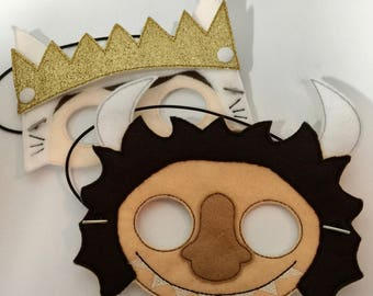 Where the Wild Things Are | Photo Prop | Felt Mask | Kids Mask | Wild One | Max Mask