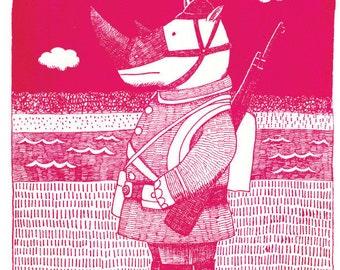 Silkscreen print, The Self-Defense Force, Rhino