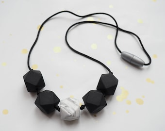 Geometric Silicone Teething Necklace - Black and Marble
