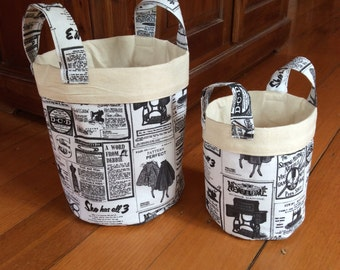 Vintage Newspaper Print,Set of 2 Fabric Storage Containers,Black, Cream & Calico With Handles