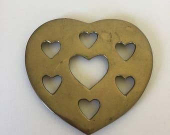 Vintage brass trivet, heart shaped trivet, brass hotpad