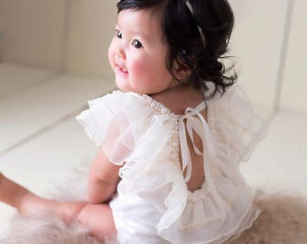 Sophie Romper, baby romper, ruffled romper, sitter romper, beaded romper, pearls, baby outfit, girl outfit, photo prop, vintage outfit