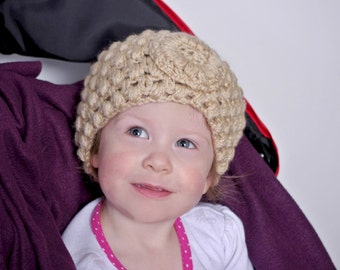 Crochet baby headwrap, crochet baby headband, baby girl headband with flower and button,made to order