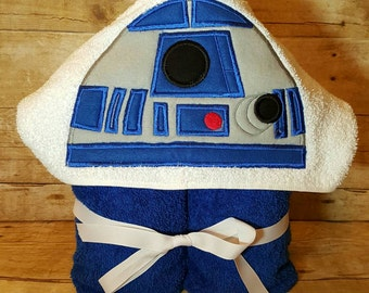 Blue Robot Inspired Hooded Towel with FREE Emboridered Name
