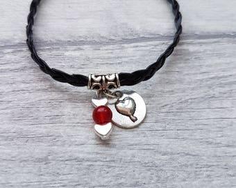 Heart Charm bracelet, Love Heart, Charm Bracelet, Heart Bracelet, Heart woven bracelet, heart charm, Leather bracelet, friendship bracelet