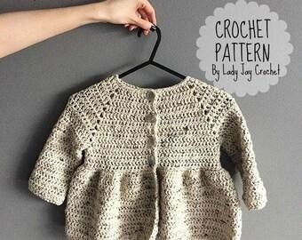 PATTERN: Penelope Cardigan | Baby, Infant, Toddler crochet peplum top diy pattern | vintage, modern, simple winter sweater | Peplum cardigan