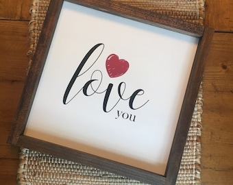 "12x12 ""Love you"" Wood Sign"