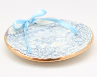Blue Ring Bearer Dish, Stoneware Ring Plate, Something Blue, Gold Rimmed Wedding Dish