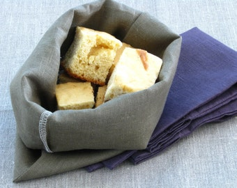 Linen Bread Bags / Kitchen Storage / Aubergine and Moss Colours