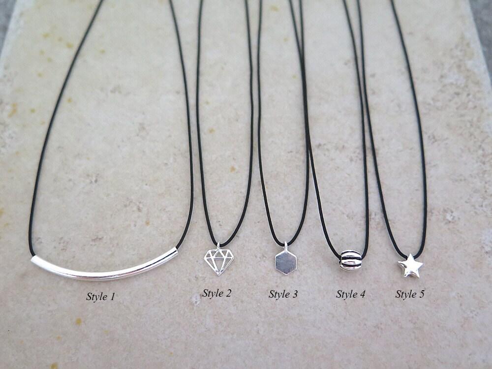 Schwarz dünn Halsband/Sterling Silber Halsband/kurze