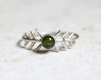 Dark green tourmaline ring,  dark green gemstone ring,  tourmaline silver ring, forest green ring, stackable ring, fir tree ring