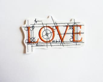 Applied fusible Love patch embroidery patch.