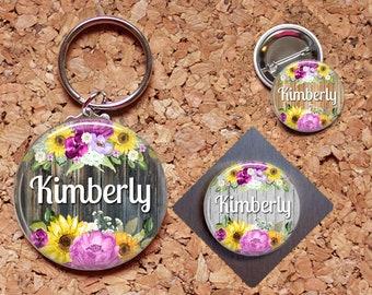 Flower Magnet, Custom Name Key Chain, Flower Pin, Refrigerator Magnet, Key Ring, Brooch Pin, Fridge Magnet, Key Holder, Stocking Stuffer