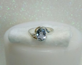 Iolite Ring With Accent, Violet Blue Iolite Ring, Natural Iolite Gemstone Ring Size 6